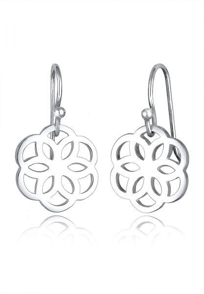 Elli Ohrringe Blume Ornament Cut-Out Flower of Life Silber