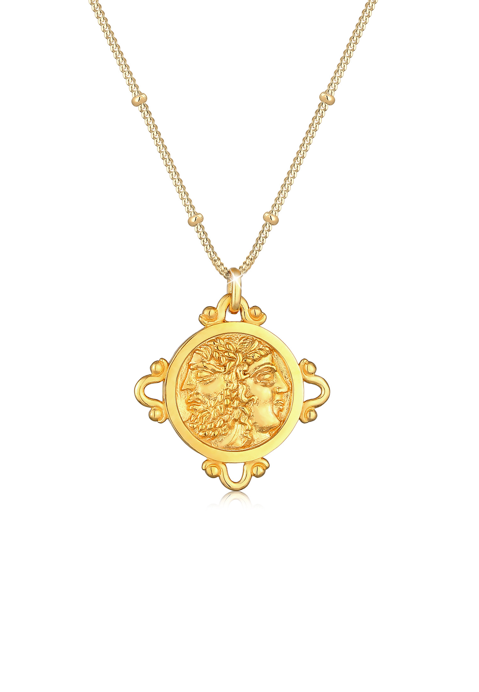 Kugel-Halskette Münze | 925 Sterling Silber vergoldet