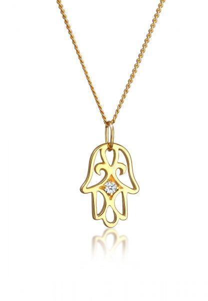 Elli PREMIUM Halskette Hand der Fatima Diamant (0.03 ct.) 585 Gelbgold