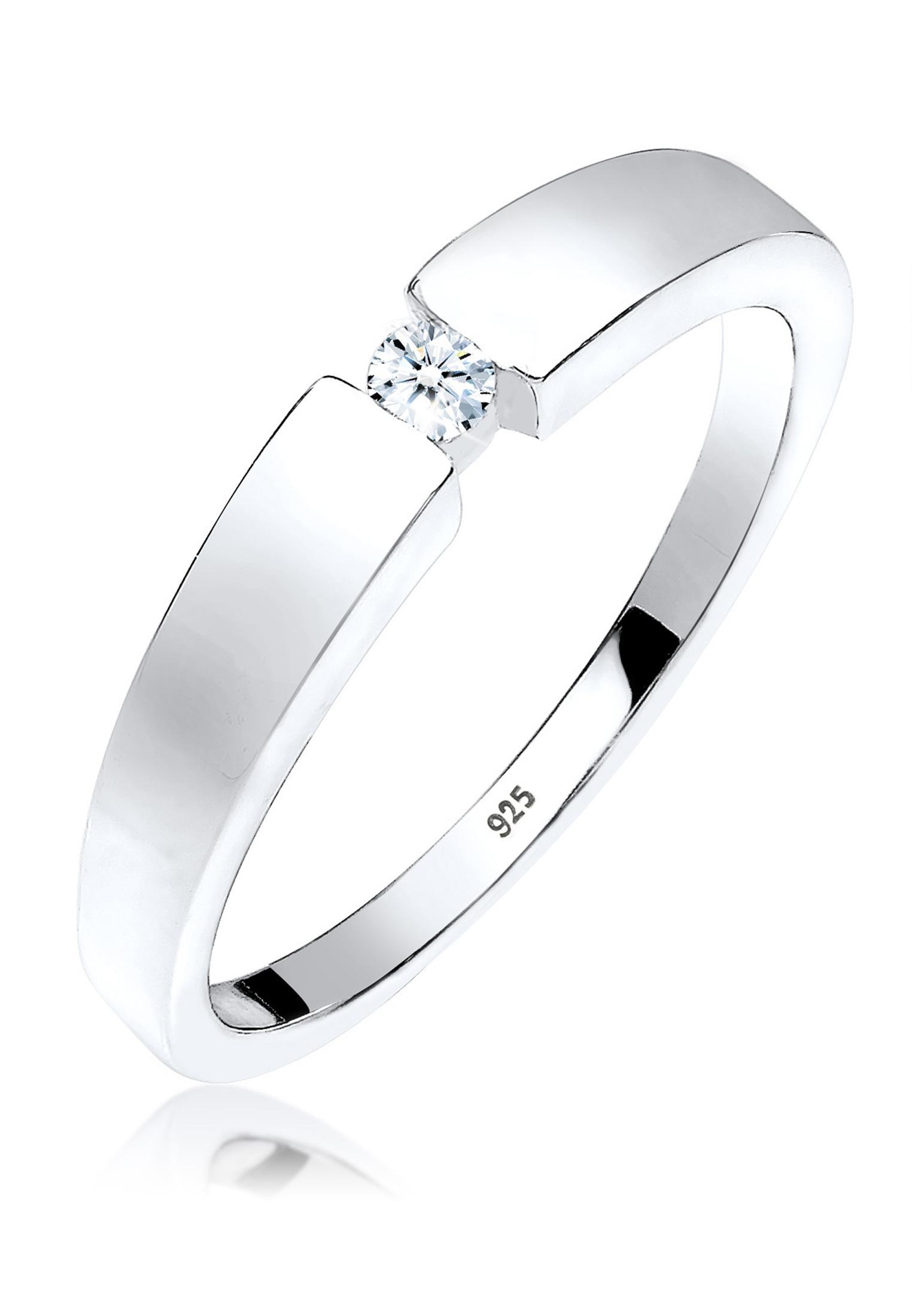 Solitär-Ring   Diamant ( Weiß, 0,06 ct )   925er Sterling Silber