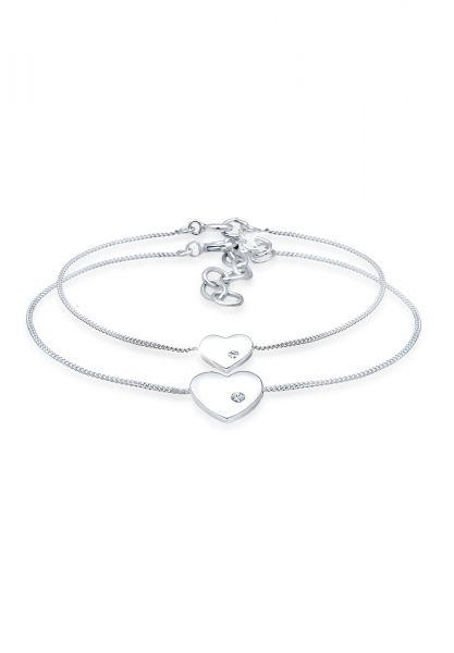 Elli Armband Herz Mutter Kind Kristalle Silber