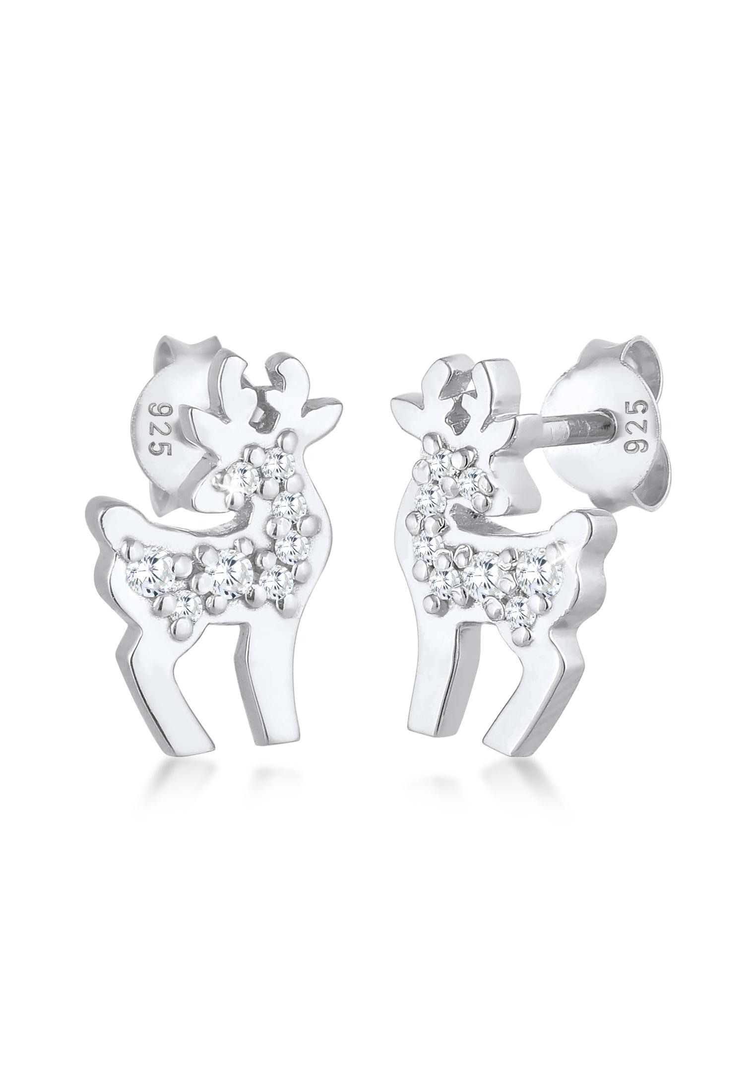 Ohrstecker Rentier | Zirkonia (weiß) | 925er Sterling Silber