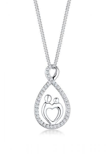 Elli Halskette Mutter Kind Infinity Herz Love Zirkonia 925 Silber