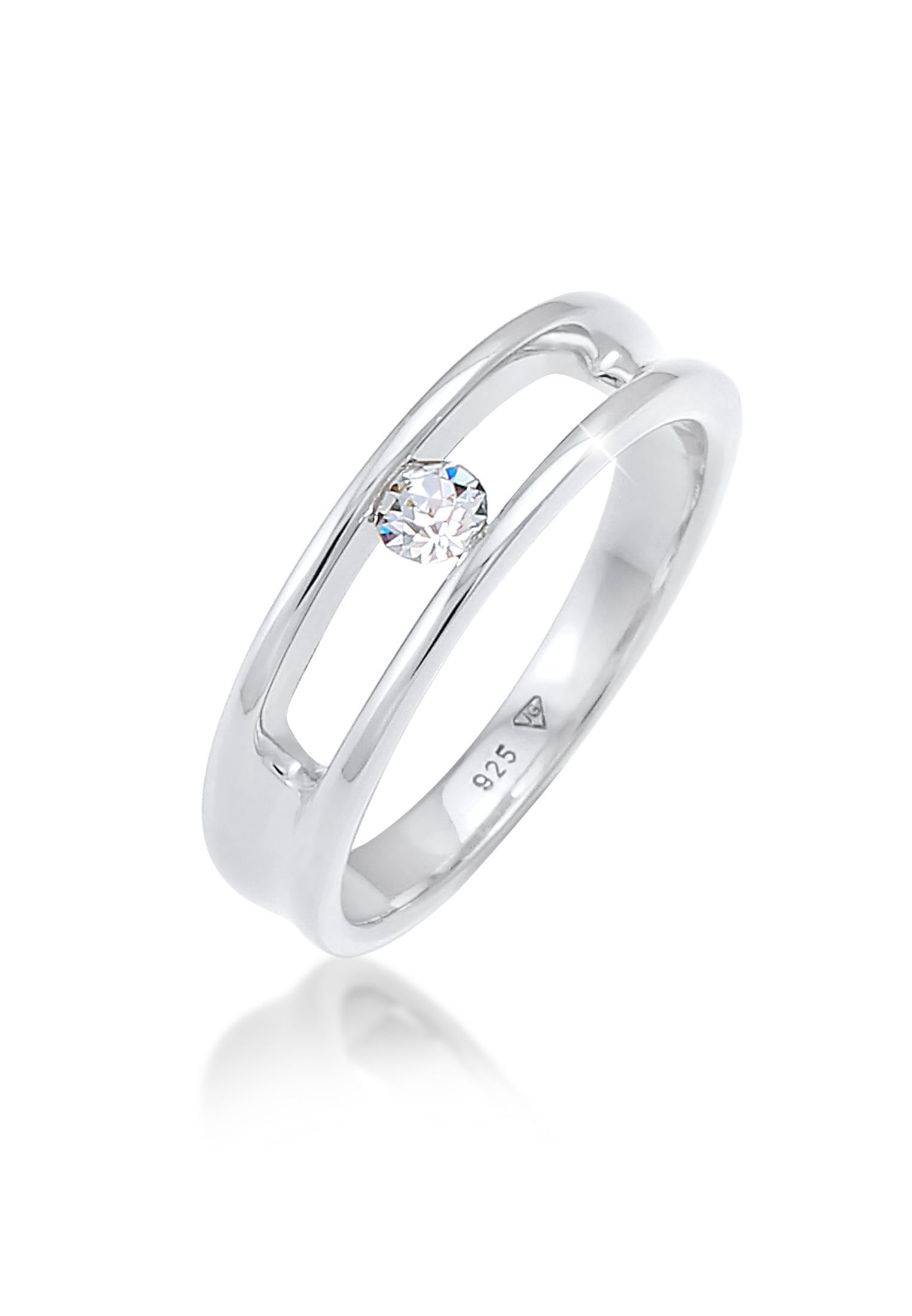 Solitär-Ring   Kristall ( Weiß )   925er Sterling Silber