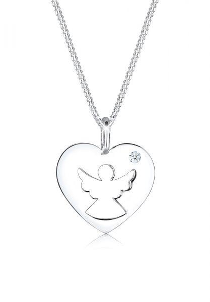 DIAMORE Halskette Herz Schutzengel Diamant (0.03 ct.) Silber