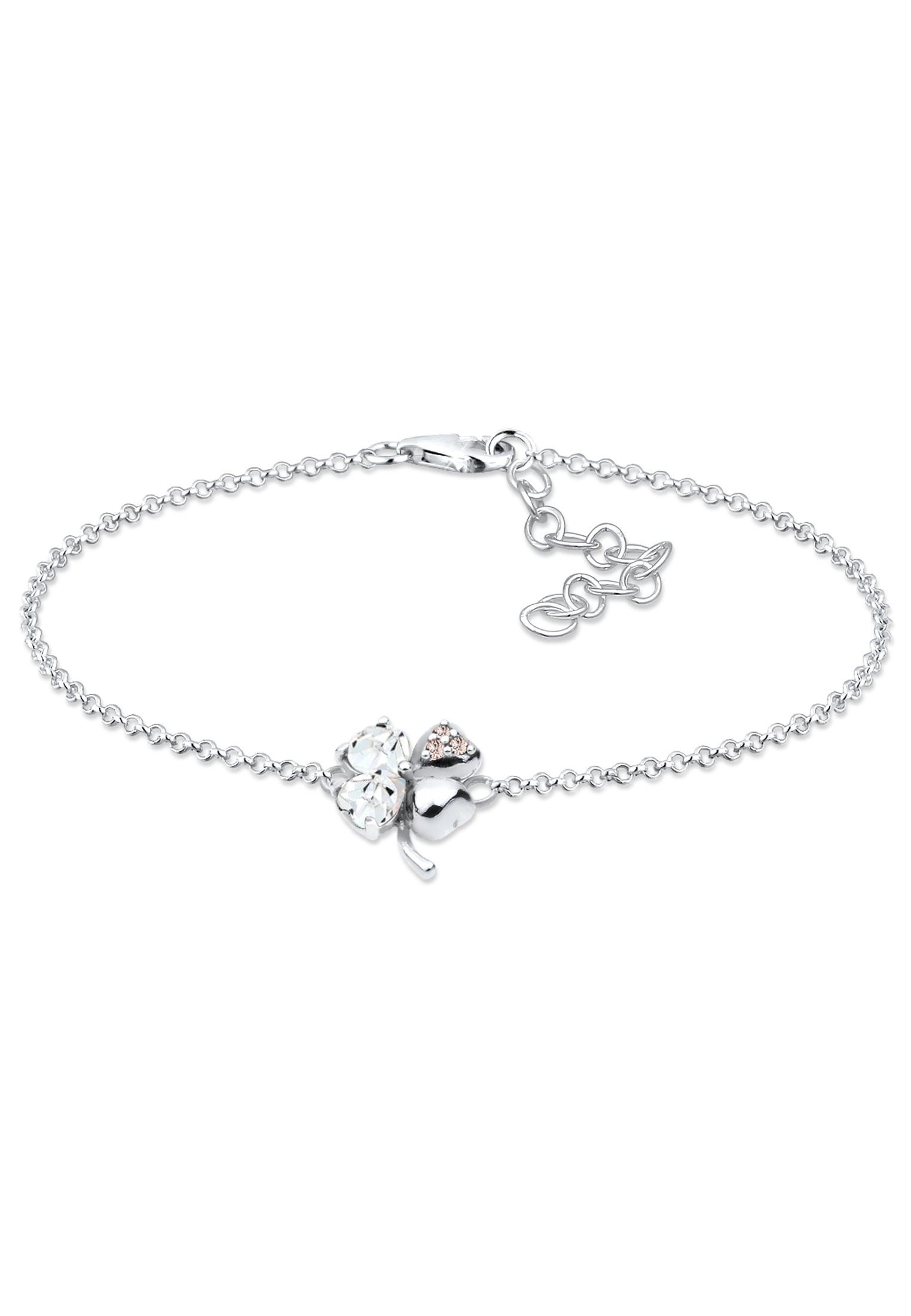 Armband Kleeblatt | Kristall ( Weiß ) | 925er Sterling Silber