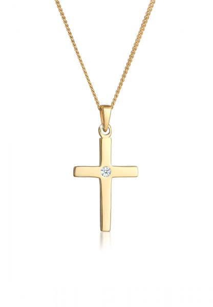 DIAMORE Halskette Kreuz Diamant Konfirmation Kommunion 585 Gelbgold