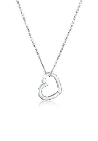 DIAMORE Halskette Herz Diamant (0.015 ct.) 925 Sterling Silber