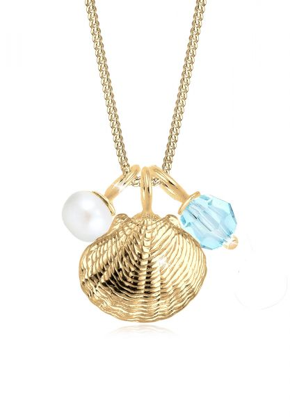 Elli Halskette Muschel Perle Kristall Sterling Silber
