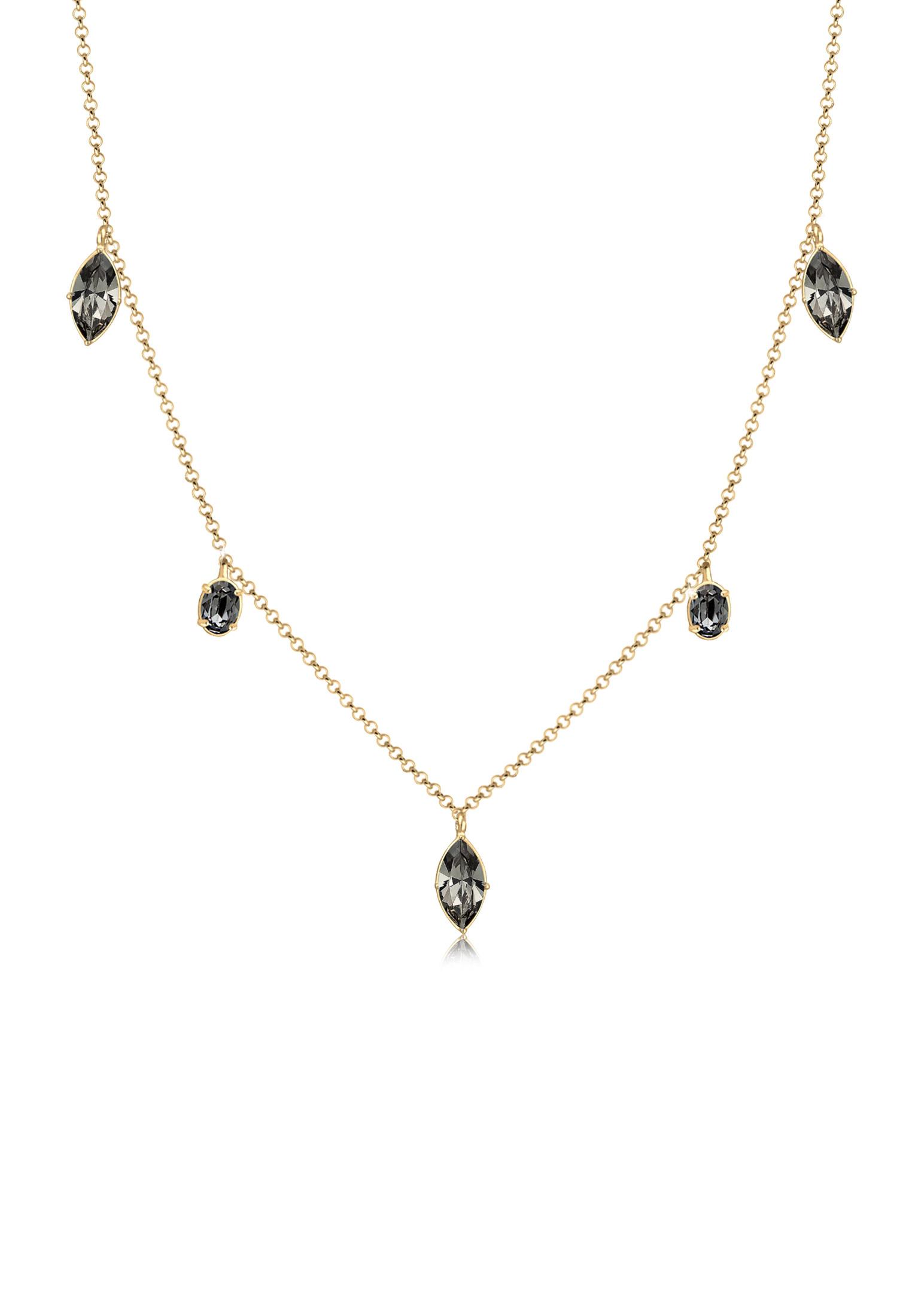 Halskette   Kristall ( Grau )   925 Sterling Silber vergoldet