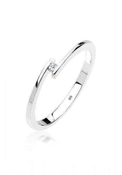 DIAMORE Ring Verlobungsring Solitär Diamant 0.015 ct.925 Silber