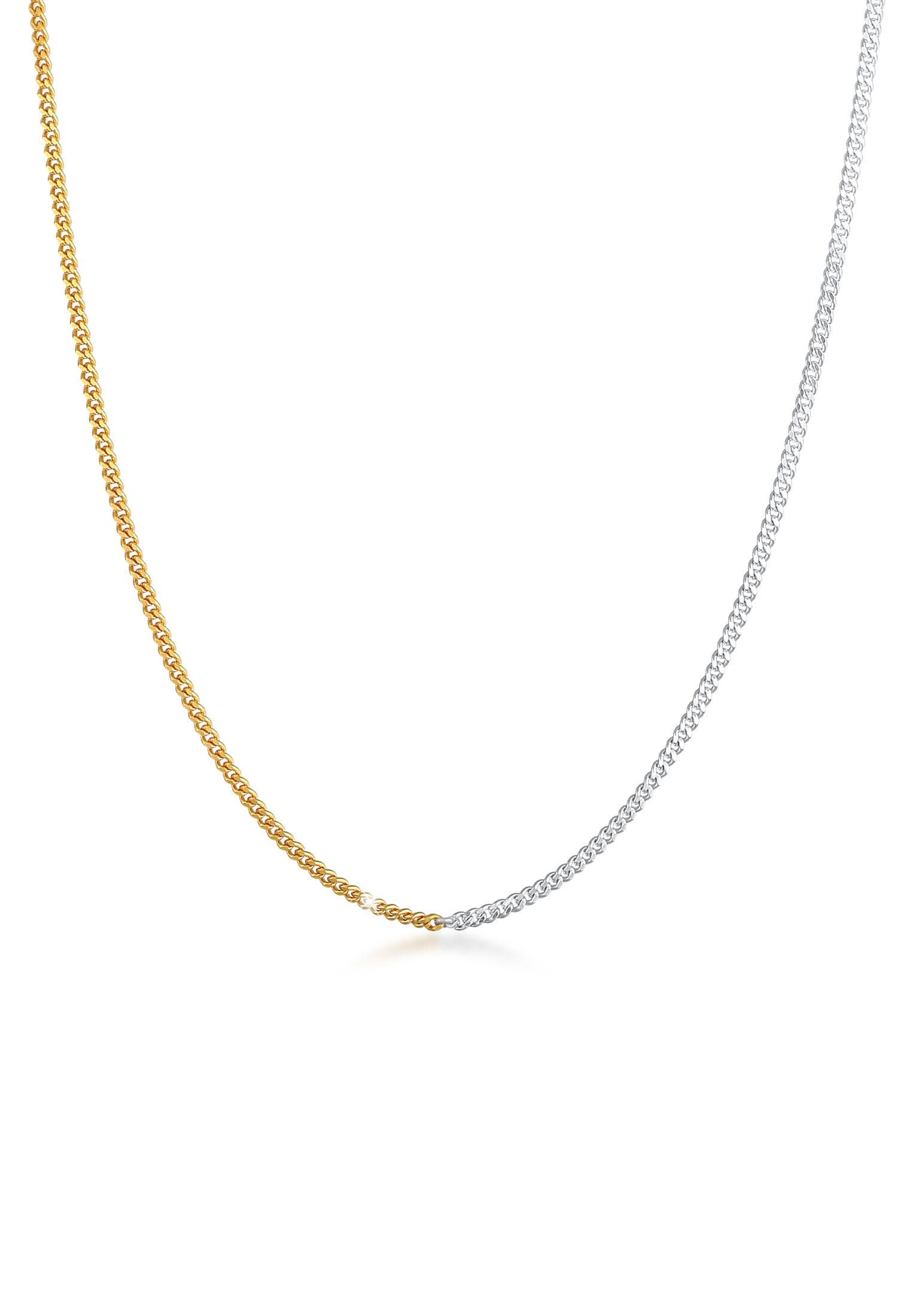 Halskette Panzer Chain Bi-Color | 925er Sterling Silber