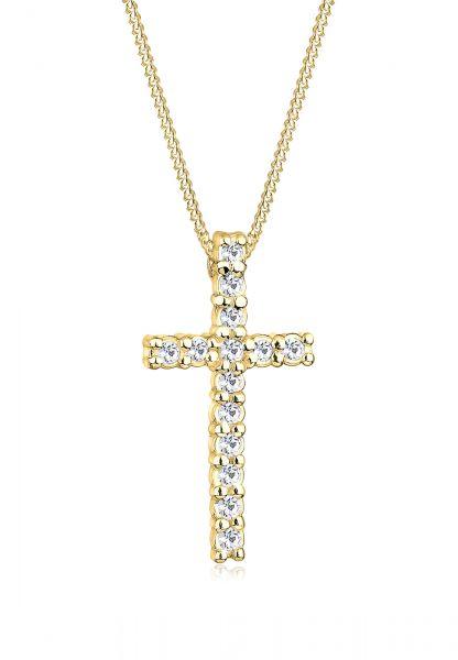Halskette Kreuz   Kristall ( Weiß )   925 Sterling Silber vergoldet
