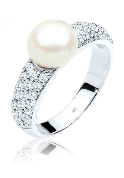 Elli PREMIUM Ring Süßwasserzuchtperle Zirkonia 925er Silber