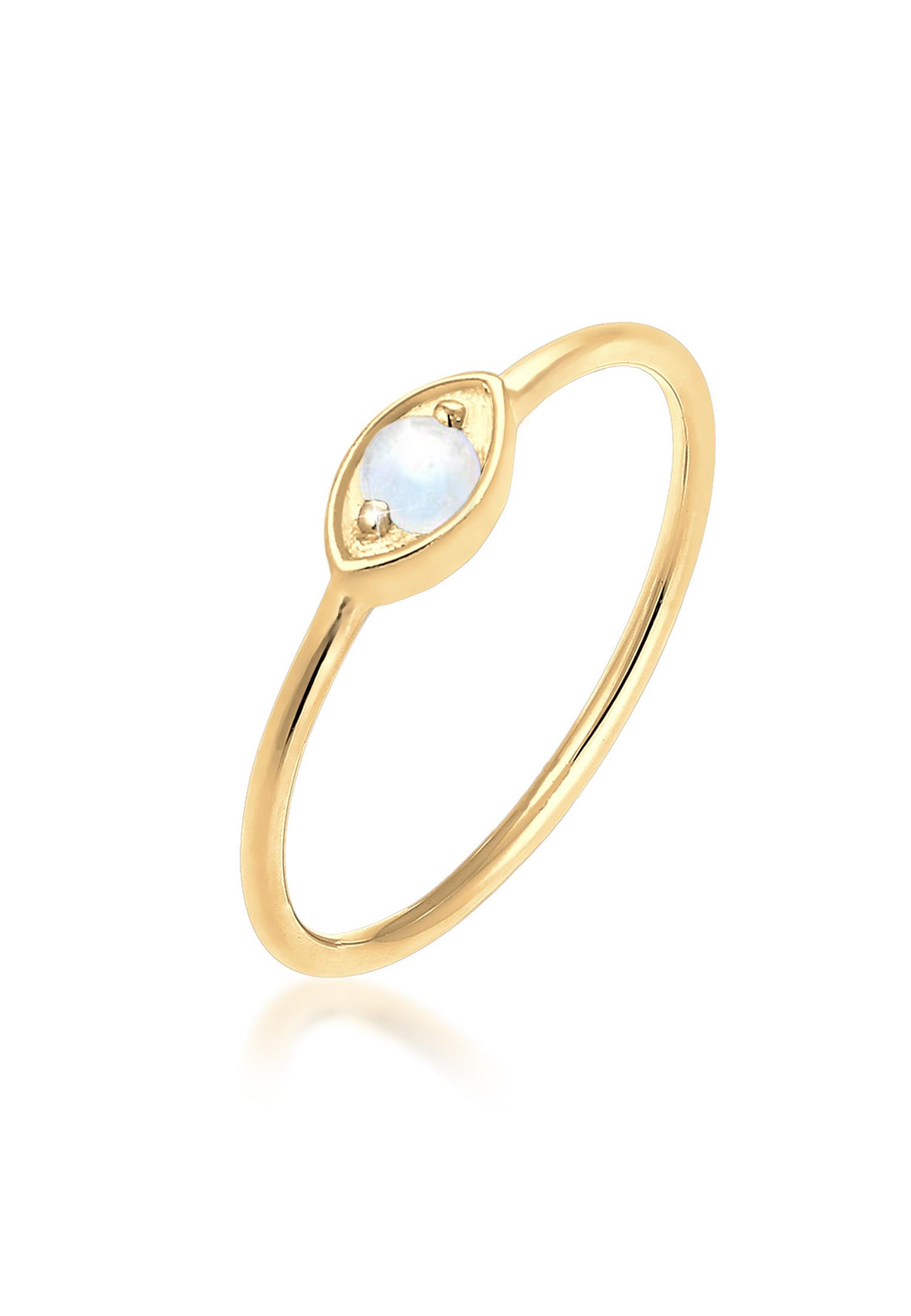 Ring Evil Eye   Mondstein ( Weiß )   925 Sterling Silber vergoldet