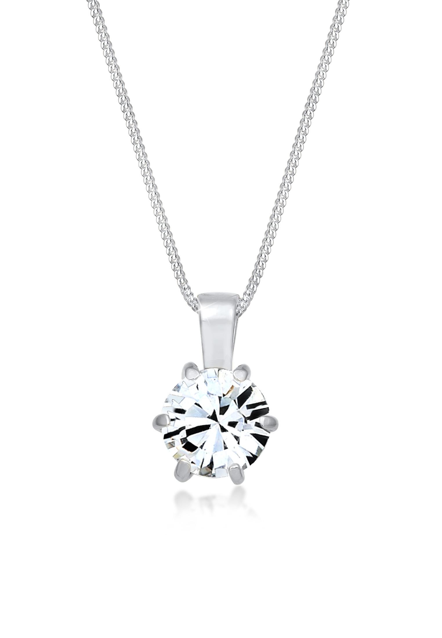 Halskette   Kristall ( Weiß )   925er Sterling Silber
