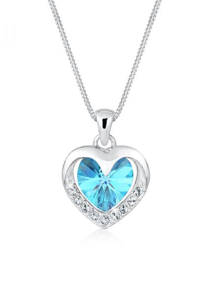 Halskette Herz | Kristall ( Hellblau ) | 925er Sterling Silber