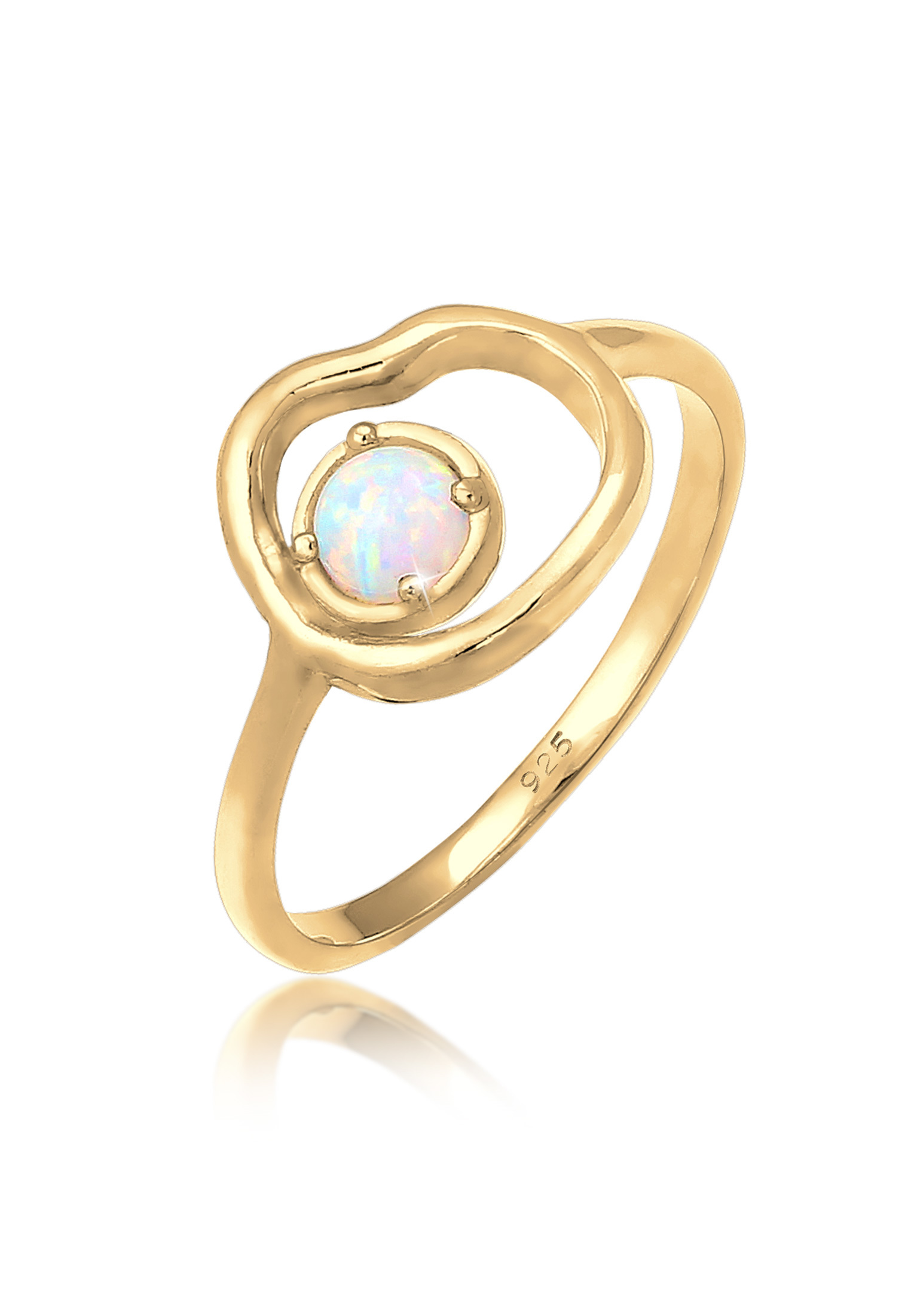 Ring | Opal ( Weiß ) | 925 Sterling Silber vergoldet