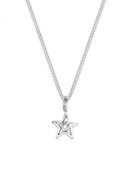 Elli Halskette Stern Kristalle 925 Sterling Silber
