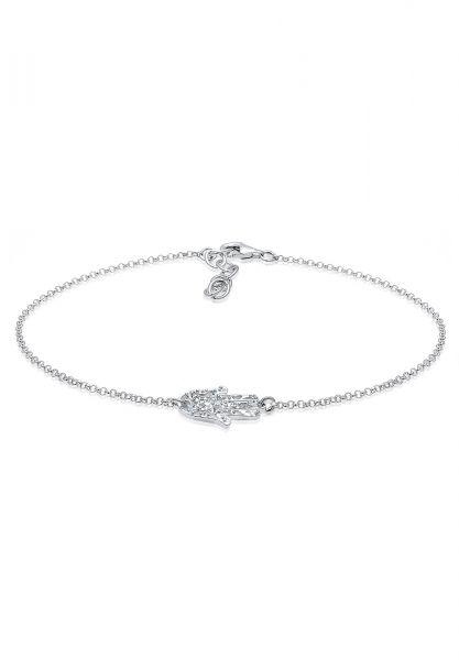 Elli Fußschmuck Symbol Hand der Fatima Kristalle 925 Silber