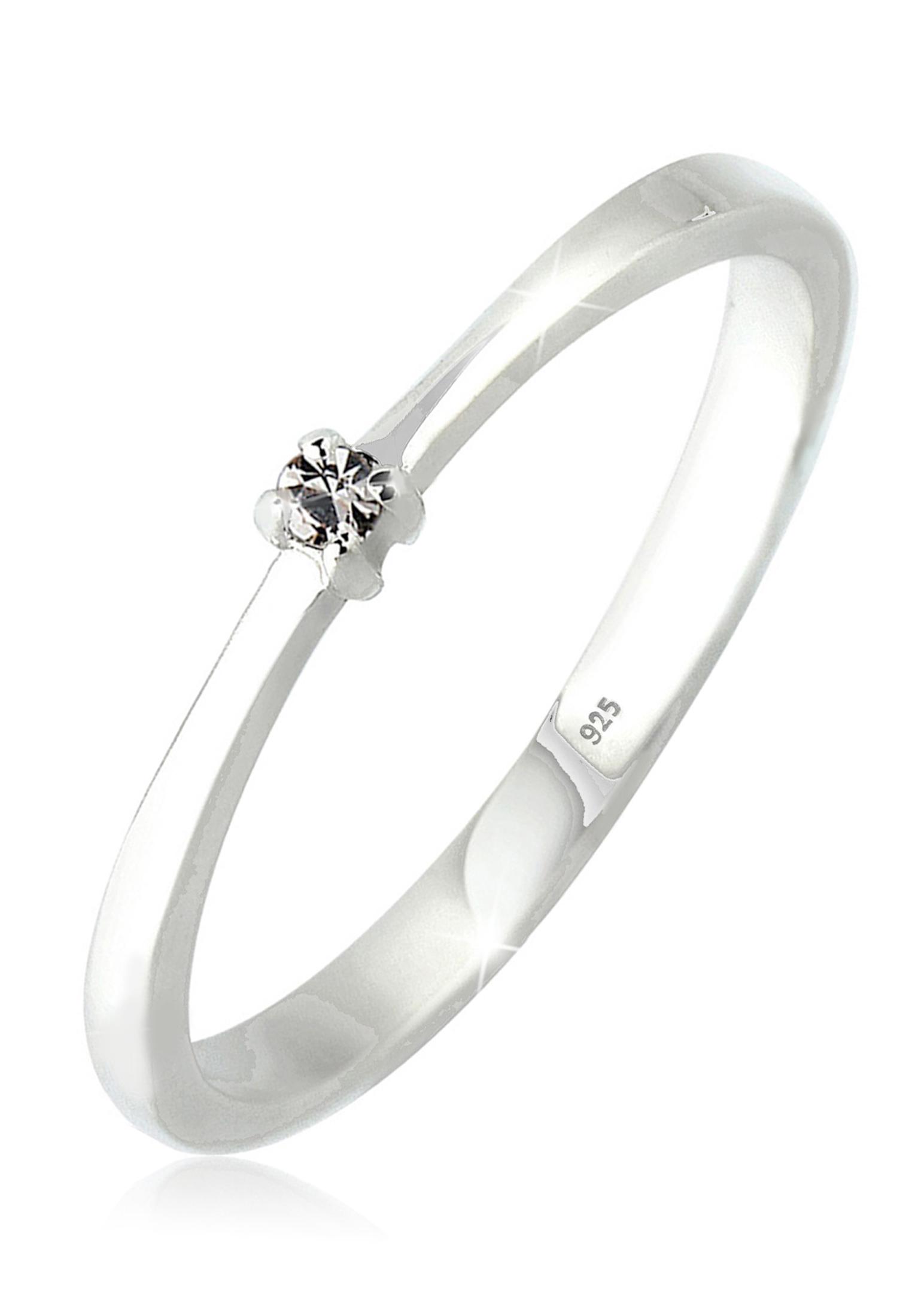 Solitär-Ring   Kristall ( Grau )   925er Sterling Silber