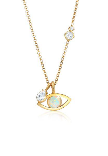 Elli PREMIUM Halskette Evil Eye Synth. Opal Topas Tropfen 925 Silber