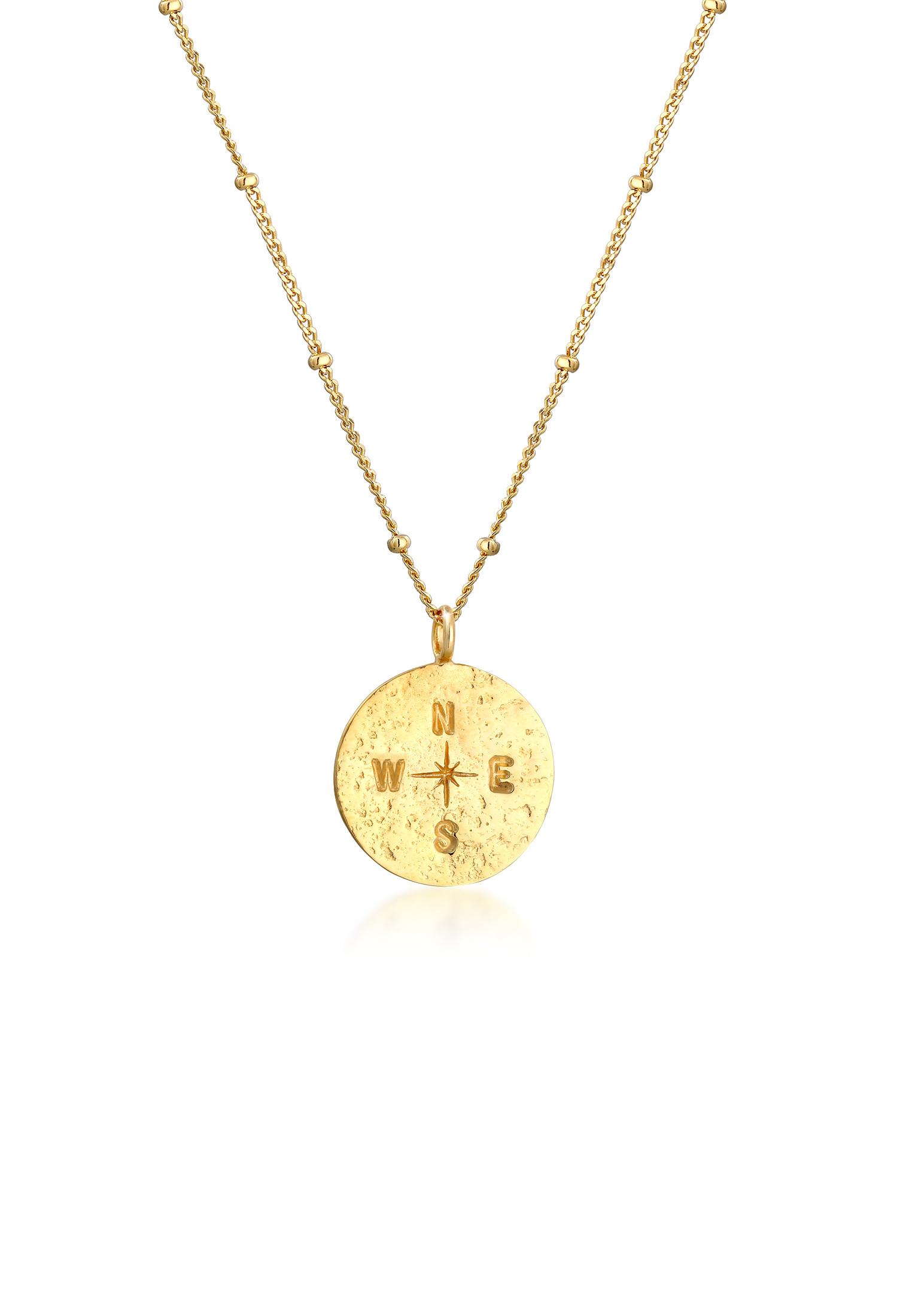 Kugel-Halskette Kompass | 925 Sterling Silber vergoldet