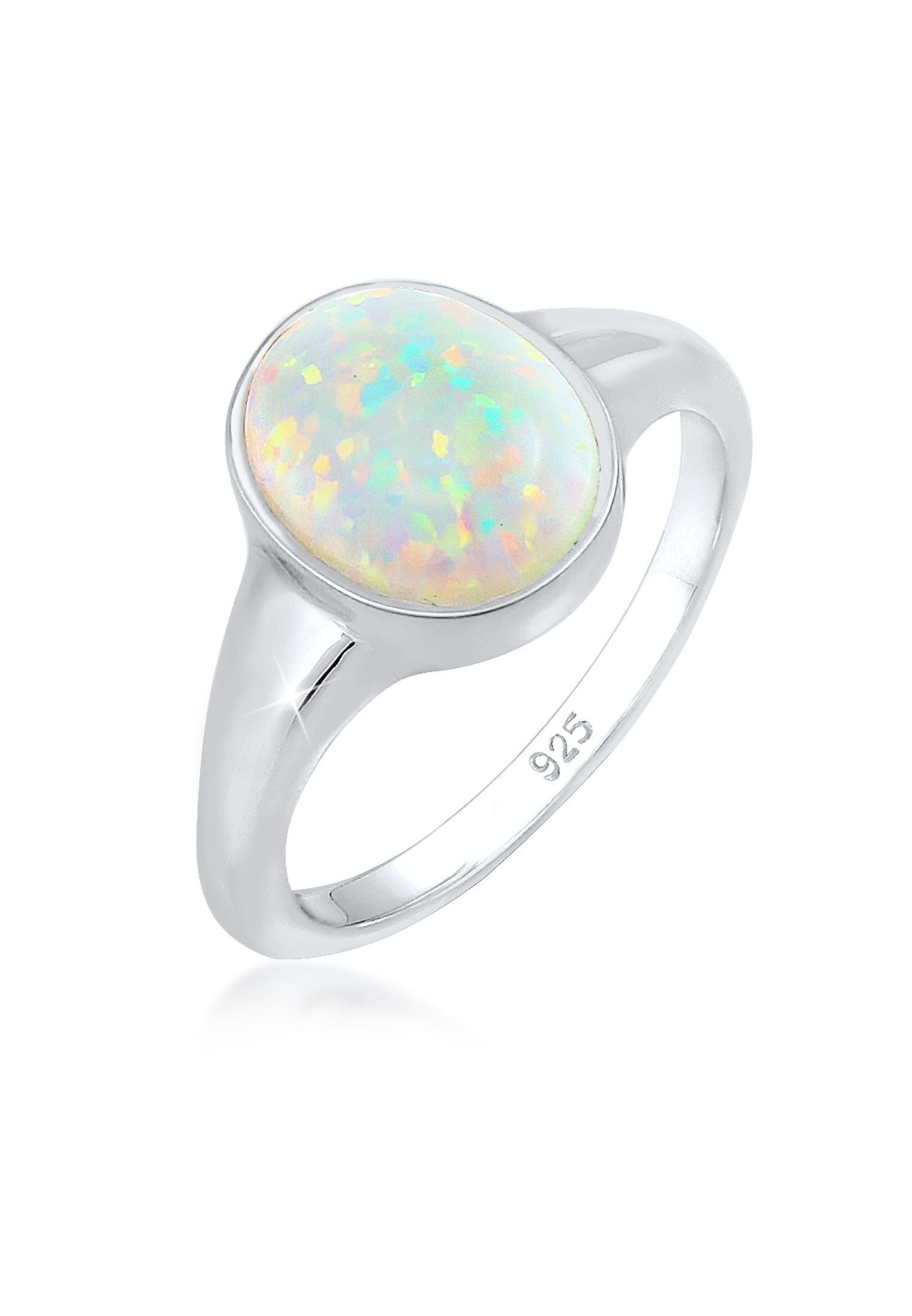 Siegelring   Opal ( Weiß )   925 Sterling Silber vergoldet
