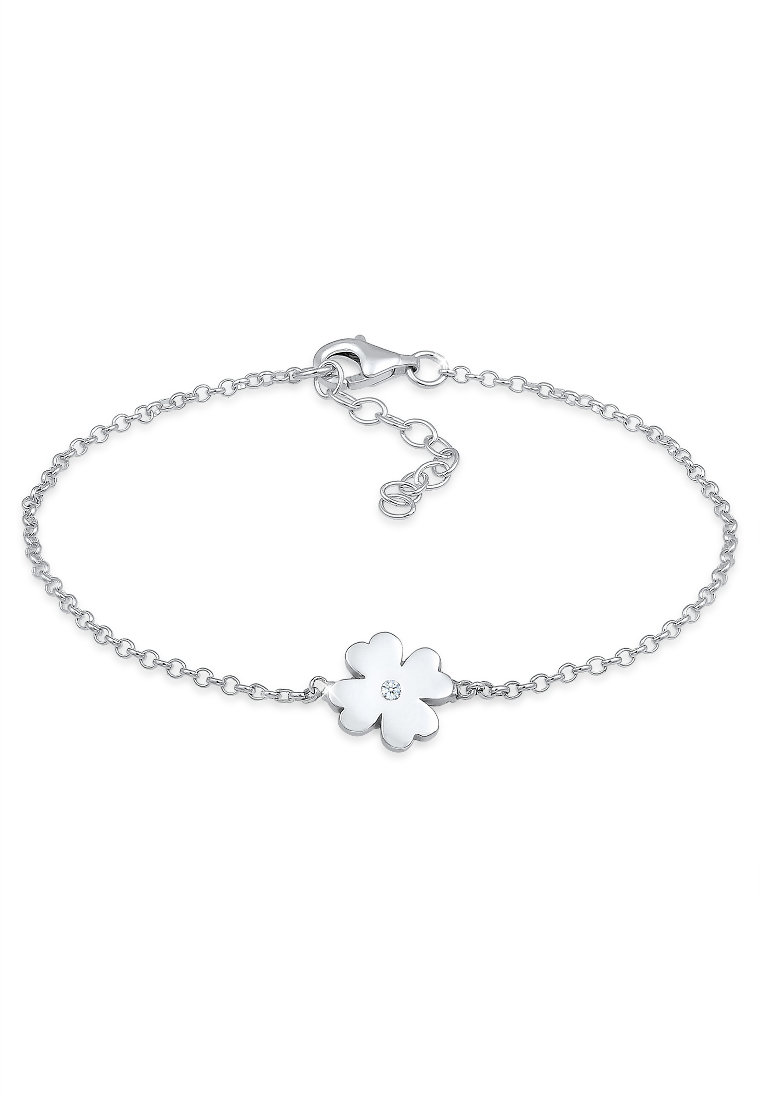 Armband Kleeblatt | Diamant ( Weiß, 0,015 ct ) | 925er Sterling Silber