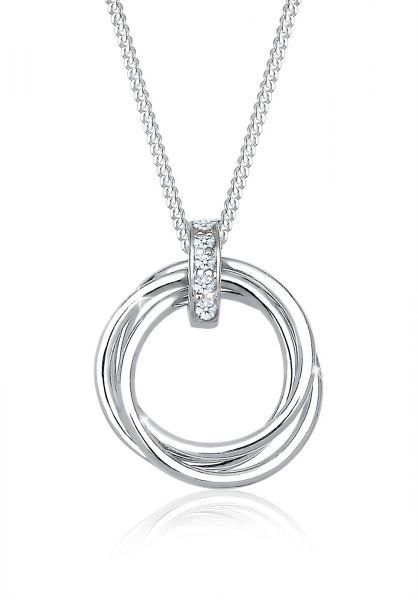 Halskette Kreis | Diamant ( Weiß, 0,025 ct ) | 925er Sterling Silber