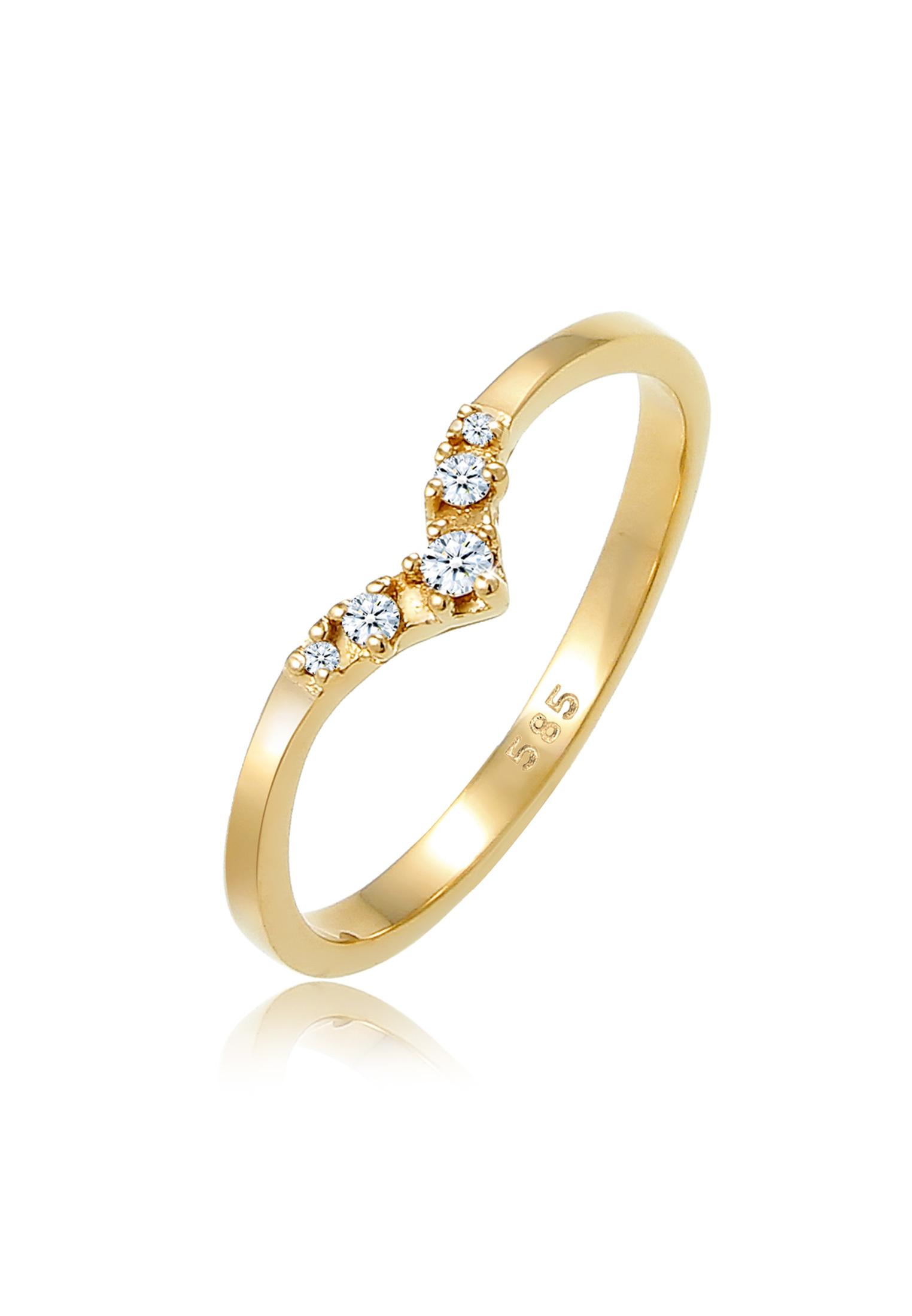 Verlobungsring   Diamant ( Weiß, 0,07 ct )   585 Gelbgold
