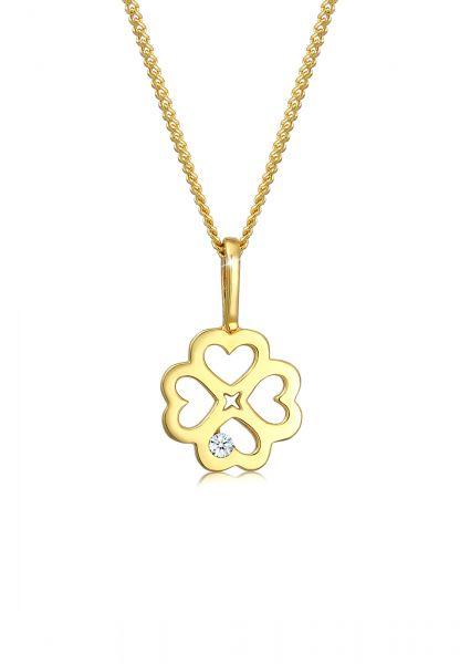 Halskette Kleeblatt | Diamant ( Weiß, 0,015 ct ) | 585 Gelbgold