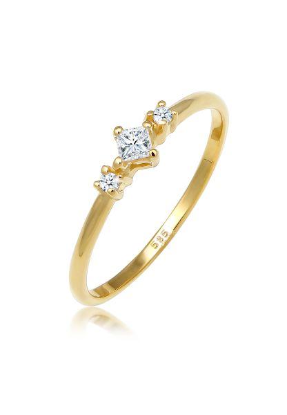 Verlobungsring | Diamant ( Weiß, 0,13 ct ) | 585 Gelbgold