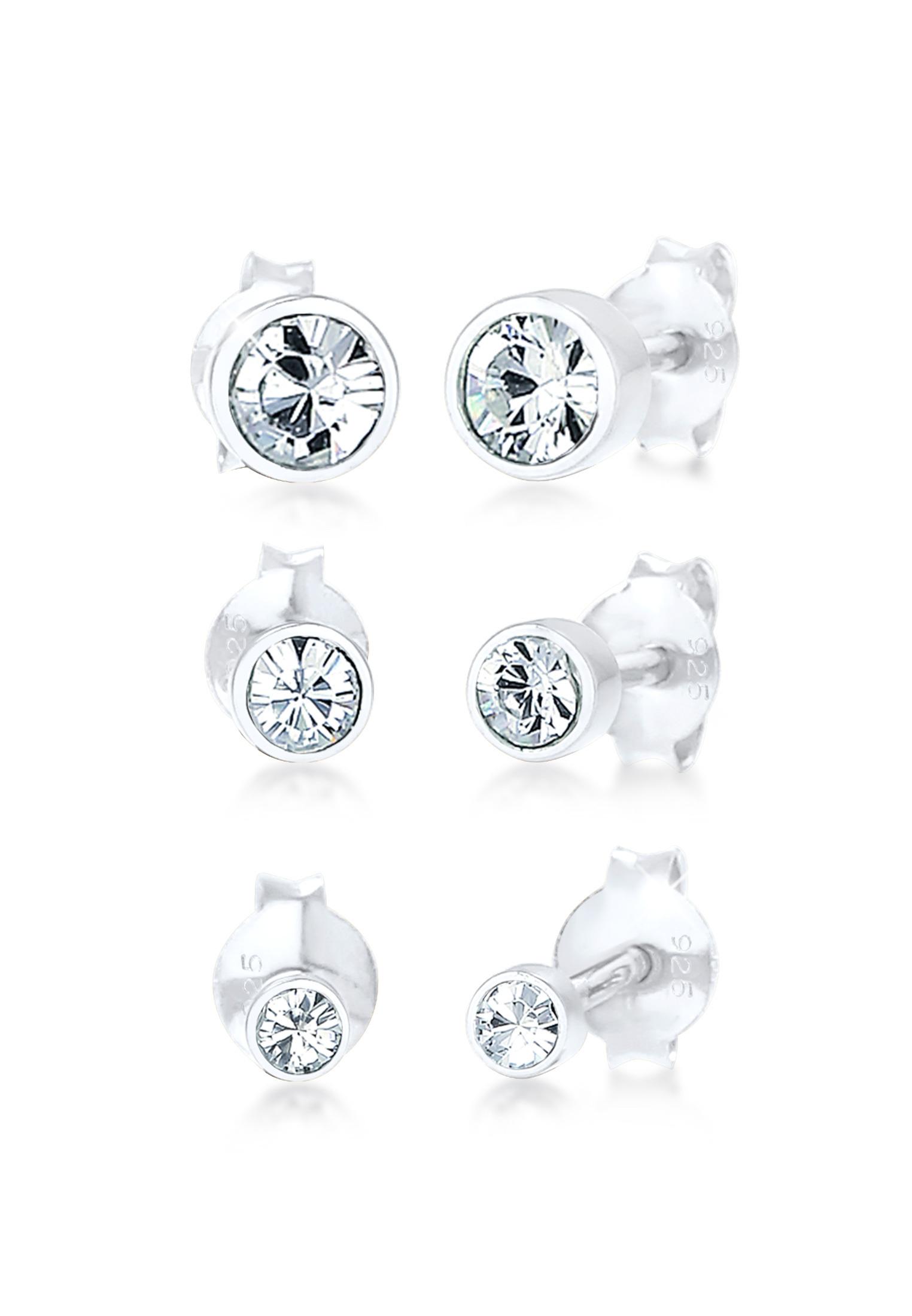 Ohrstecker | Kristall ( Weiß ) | 925er Sterling Silber