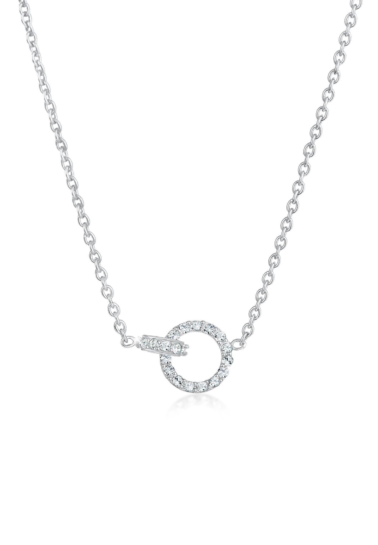 Halskette Kreis | Kristall ( Weiß ) | 925er Sterling Silber