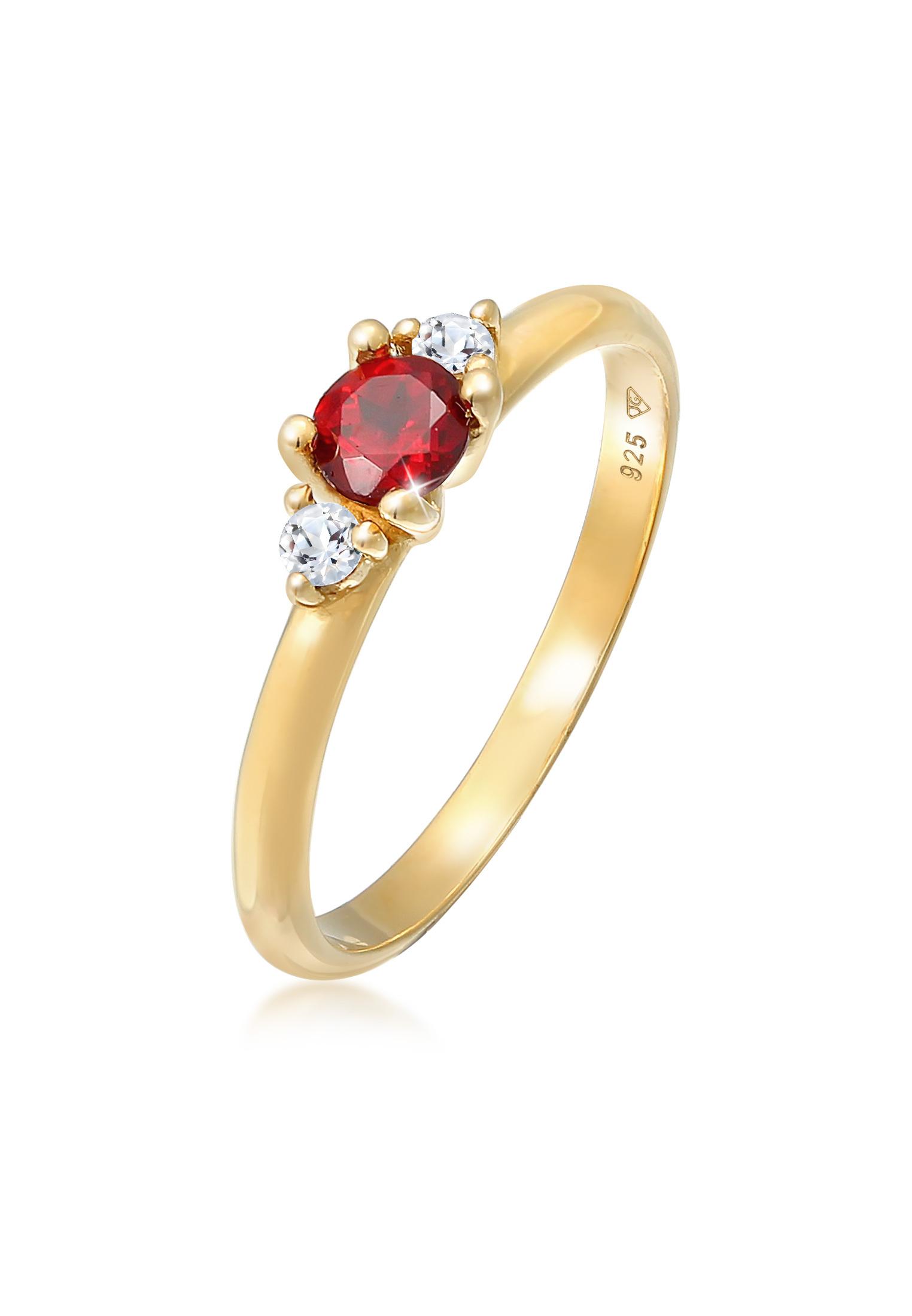 Ring   Granat (rot), Topas (weiß)   925er Sterling Silber