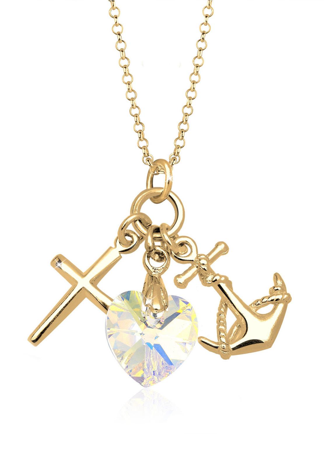 Halskette Anker   Kristall ( Weiß )   925 Sterling Silber vergoldet
