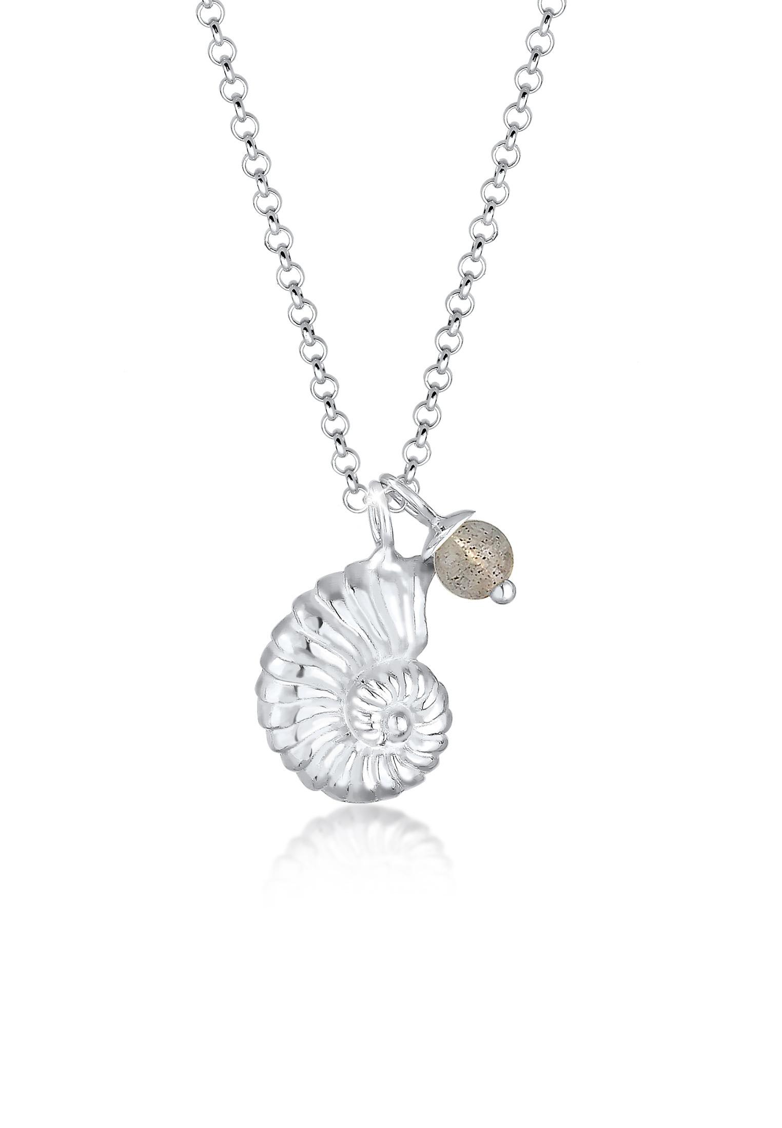 Halskette | Labradorit ( Grau ) | 925er Sterling Silber