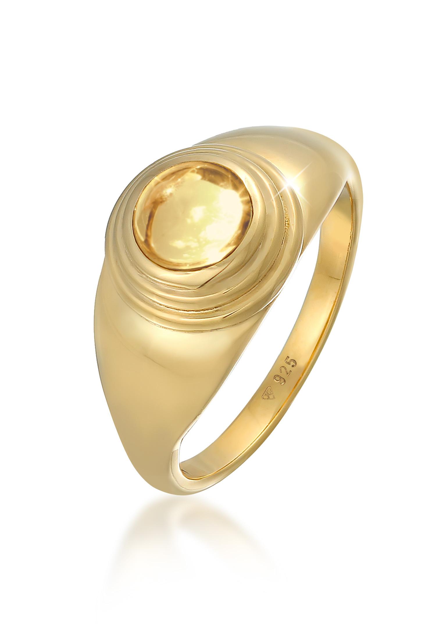 Siegelring | Citrin (gelb) | 925er Sterling Silber