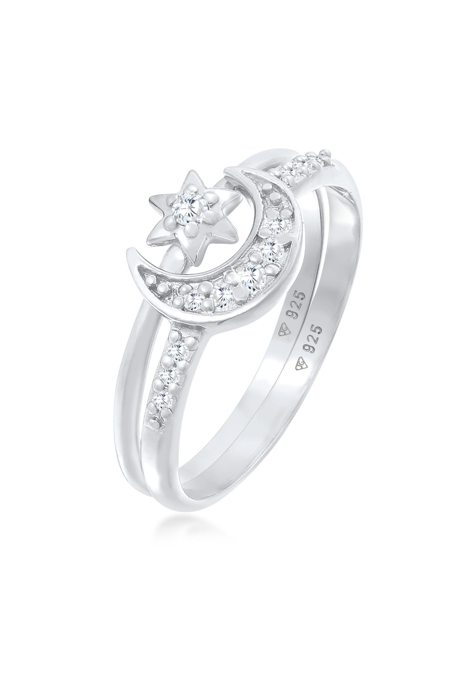 Ringset Astro | Zirkonia ( Weiß ) | 925er Sterling Silber