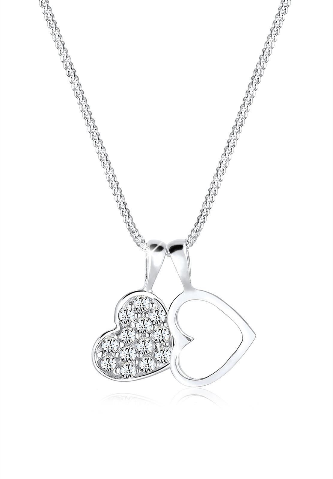 Halskette Herz   Kristall ( Weiß )   925er Sterling Silber