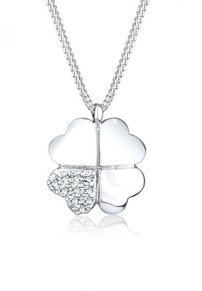 Elli Halskette Kleeblatt Clover Kristalle 925 Silber