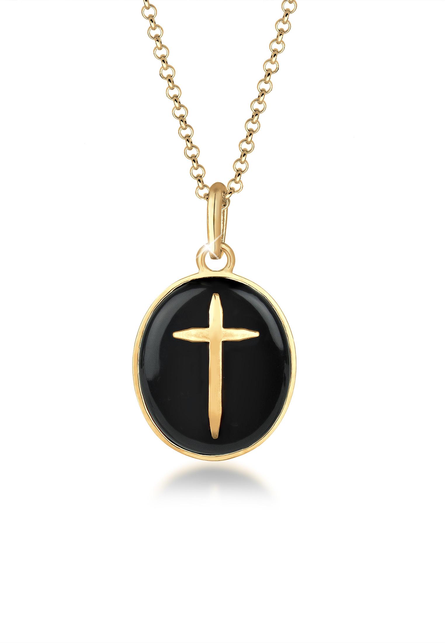Lange Halskette Kreuz   925 Sterling Silber vergoldet