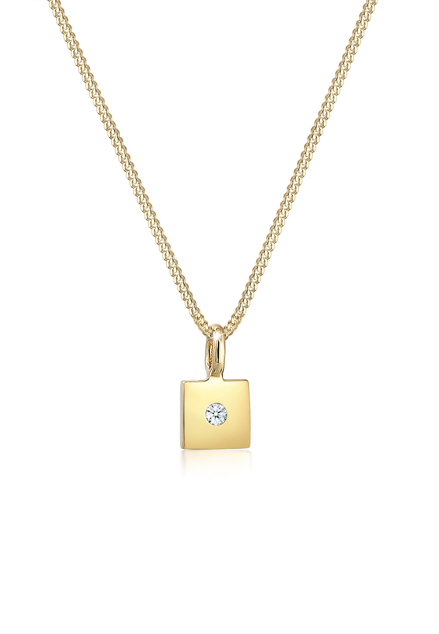 Halskette Viereck   Diamant ( Weiß, 0,015 ct )   585 Gelbgold