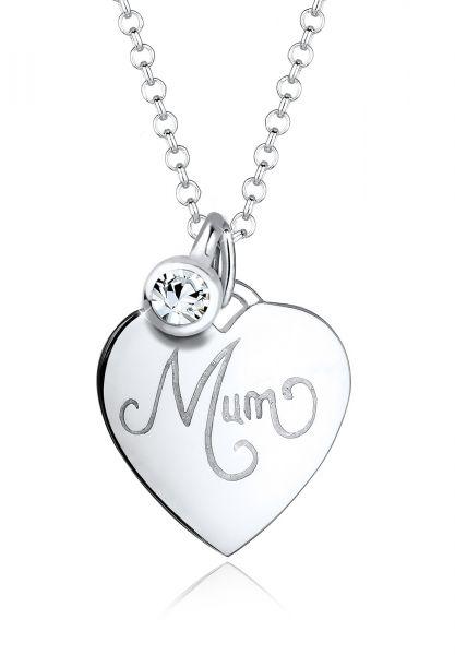 Elli Halskette Mum-Schriftzug Kristalle 925 Silber