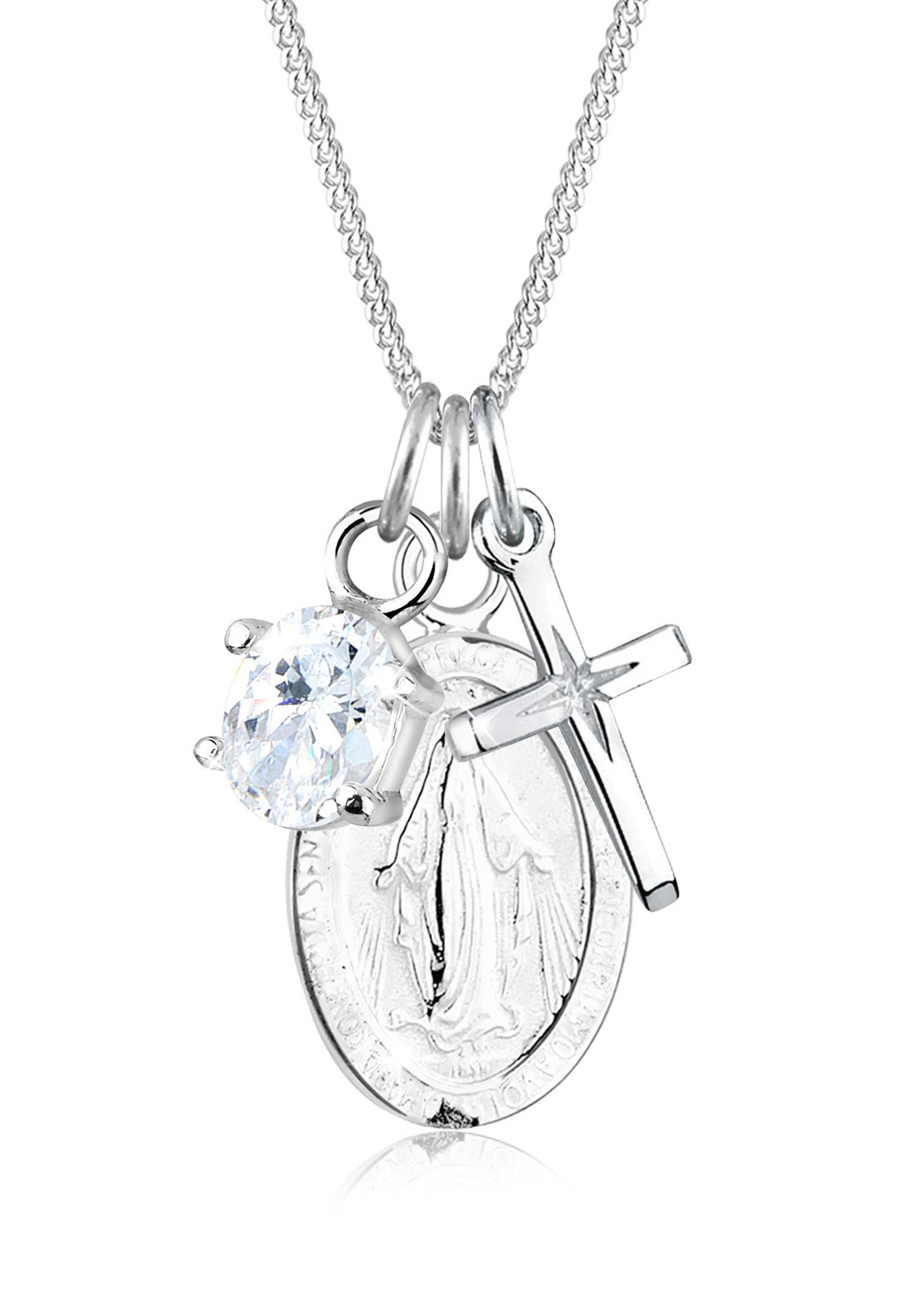 Halskette Kreuz | Zirkonia ( Weiß ) | 925er Sterling Silber