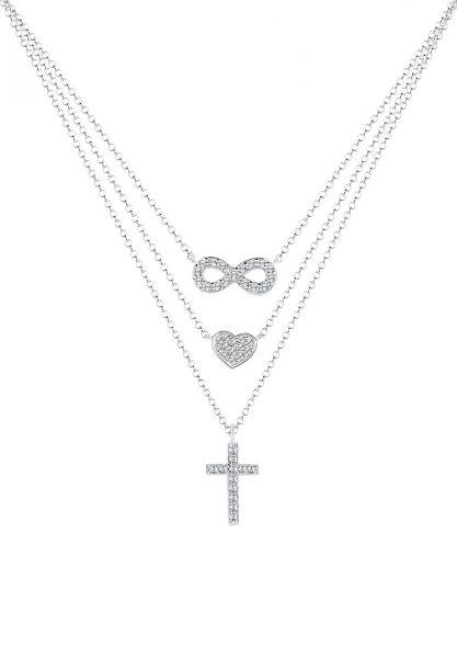 Layer-Halskette Herz   Kristall ( Weiß )   925er Sterling Silber