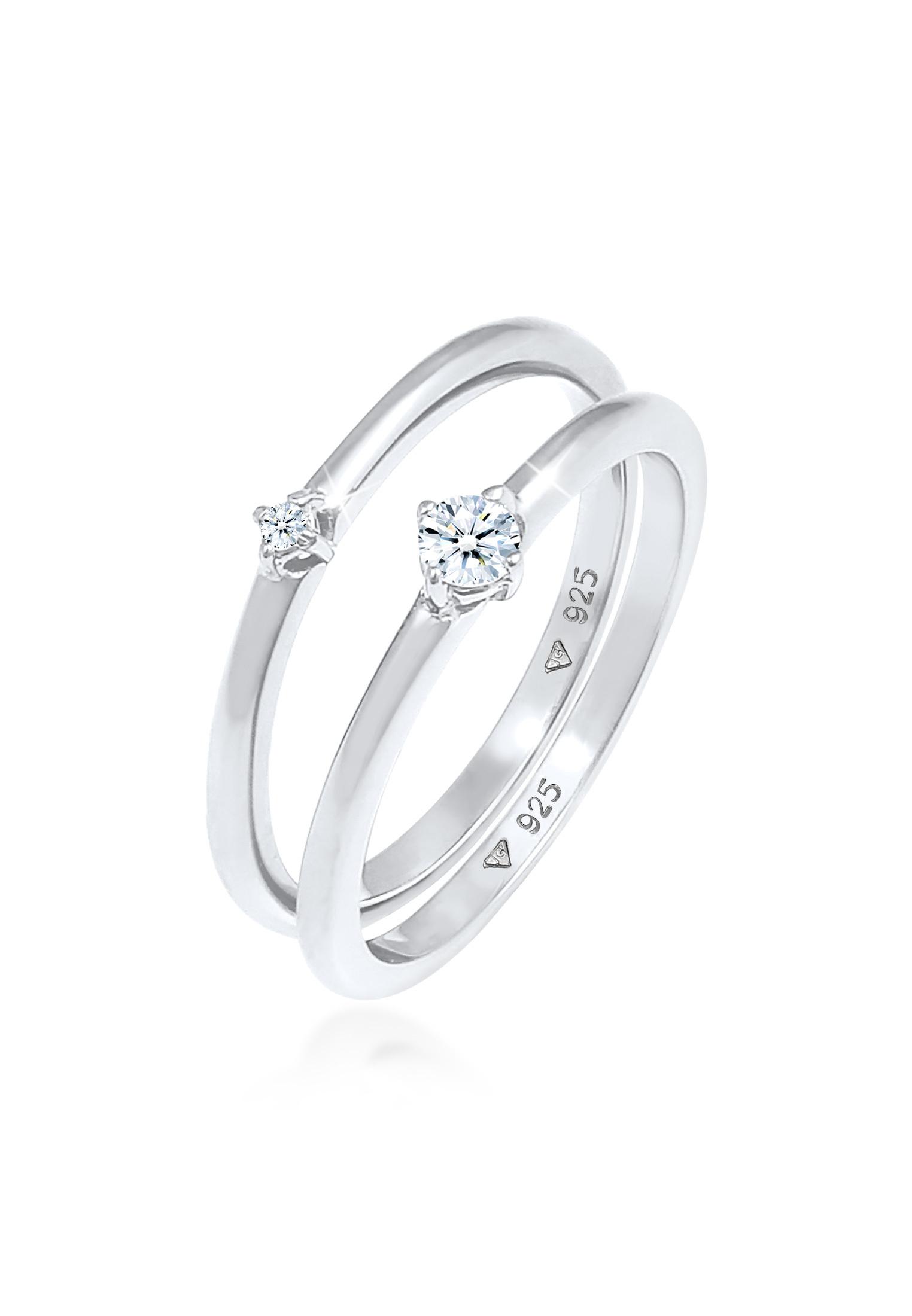 Verlobungsring | Diamant ( Weiß, 0,125 ct ) | 925er Sterling Silber