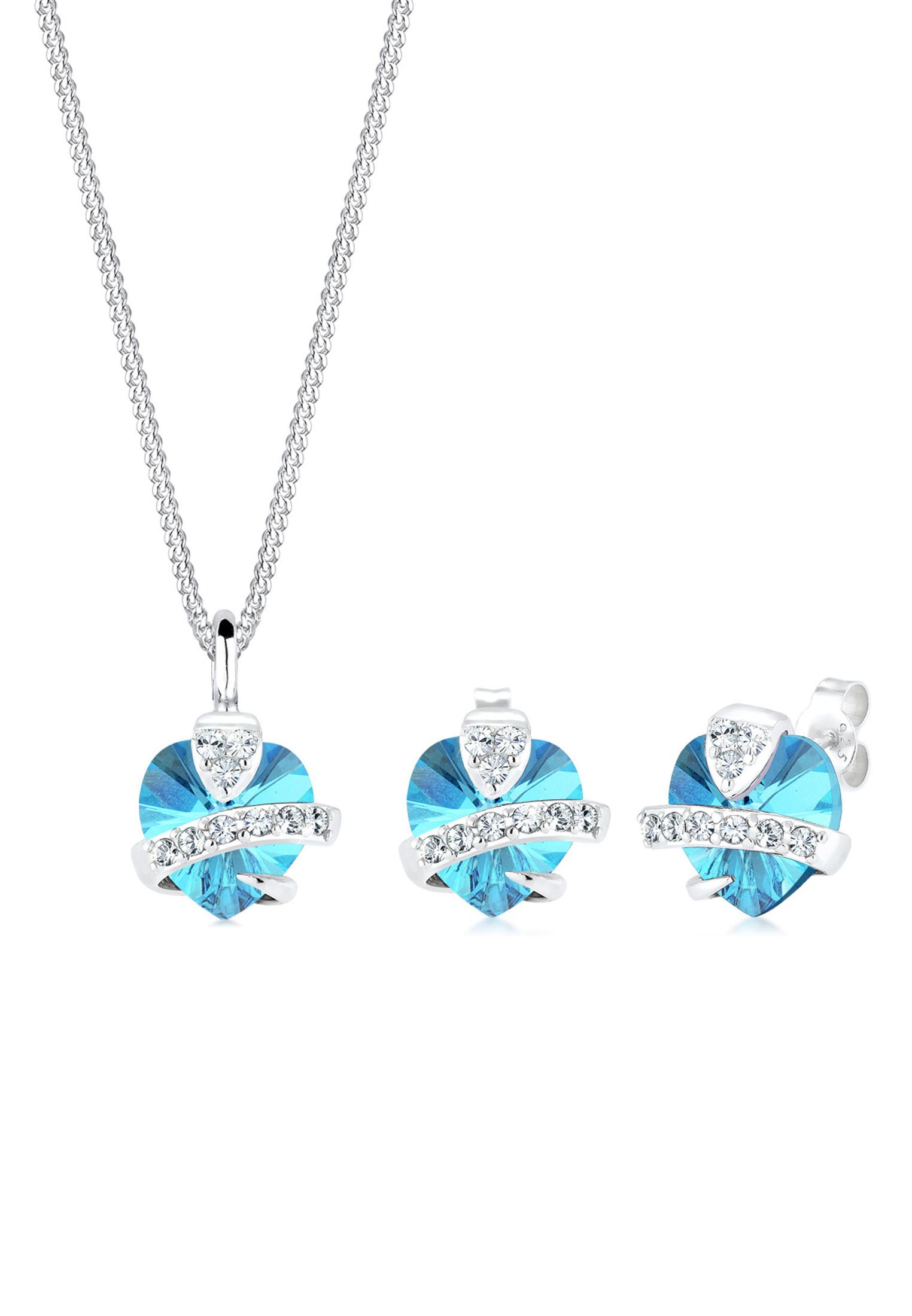 Schmuckset Herz   Kristall ( Hellblau )   925er Sterling Silber