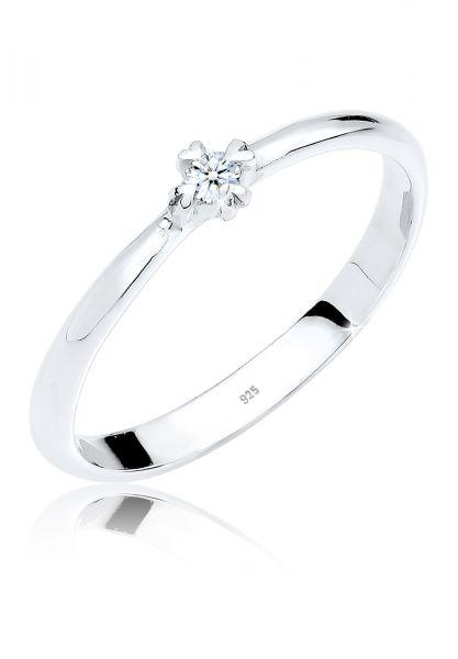 DIAMORE Ring Solitär Herz Verlobung Diamant 0.03 ct. 925 Silber
